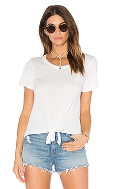 Mandy Tie Front Tee in White