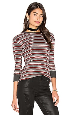 Isah Top in Red Velvet & Multi Stripes