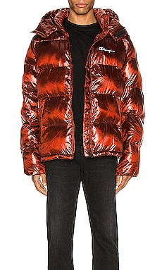 Melange Hooded Puff Jacket Champion Reverse Weave $365
