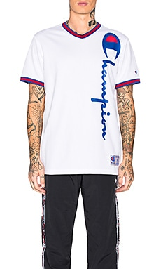 Champion V-Neck Logo Tee Champion Reverse Weave $75