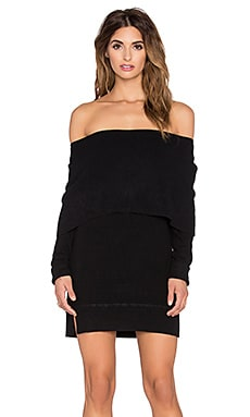 Central Park West Sochi Off The Shoulder Sweater Dress in Black