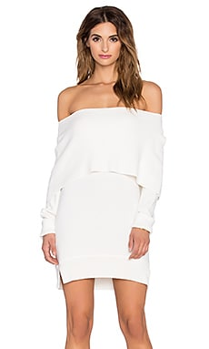 Central Park West Sochi Off The Shoulder Sweater Dress in Ivory