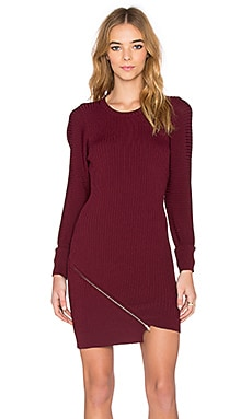 Central Park West Queensland Asymmetric Hem Dress in Burgundy