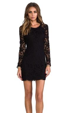 Central Park West Harlem Square Lace Dress in Black