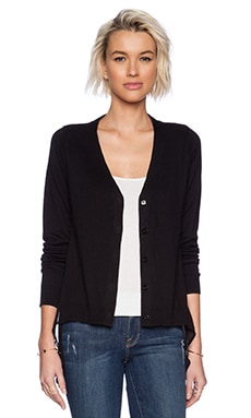 Central Park West Rye Cardigan Sweater/White in Black
