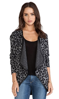 Central Park West Catskill Cardigan in Charcoal Cheetah