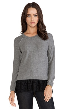 Central Park West Kingston Lace Hem Sweater in Charcoal