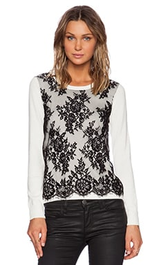 Central Park West Vinegar Hill Lace Overlay Sweater in Ivory