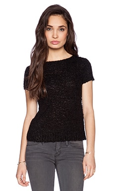 Central Park West Vandam Short Sleeve Sweater in Black
