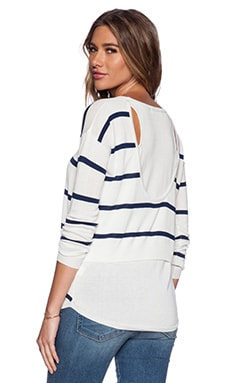Central Park West New Orleans Layered Sweater in White & Navy