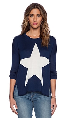 Central Park West Charleston Star Sweater in Navy