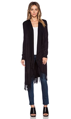Central Park West Raleigh Fringe Cardigan in Black