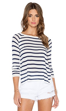 Central Park West High Slit Stripe Sweater in Navy & White