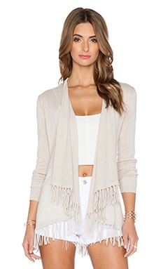Central Park West Sardinia Fringe Cardigan in Sand