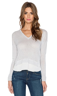 Central Park West Lisbon V Neck Sweater in Grey