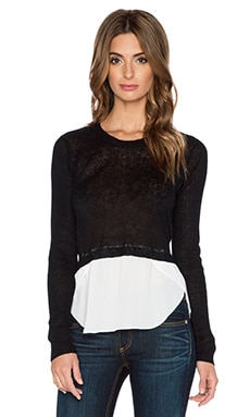 Central Park West Lisbon Crop Sweater in Black & White