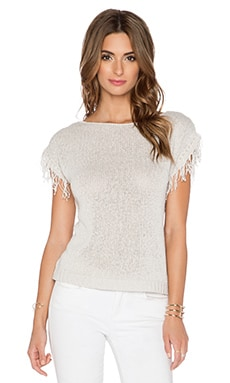 Central Park West Antwerp Fringe Sleeve Sweater in Stone