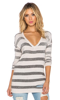 Central Park West Tremblant Striped Sweater in Blush Grey