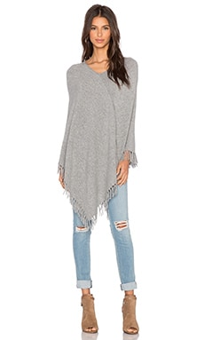 Central Park West Whistler Cashmere Fringe Poncho in Heather Grey