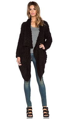 Central Park West St. Petersburg Shaggy Cardigan in Black