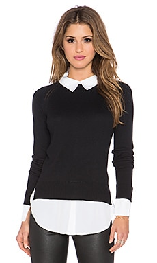 Central Park West Cambridge Layered Sweater in Black & White