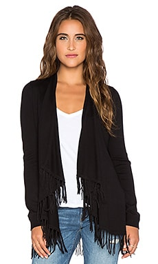 Central Park West Cori Fringe Cardigan in Black