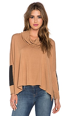 Central Park West Patagonia Turtleneck Dolman Sweater in Camel