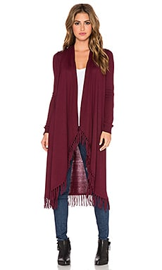 Central Park West Jackson Hole Fringe Cardigan in Burgundy