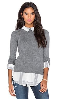 Central Park West Cambridge Layered Sweater in Grey & Grey Plaid