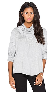 Central Park West Patagonia Fringe Cowl Neck Sweater in Heather Grey