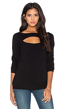 Central Park West Patagonia Front Cut Out Sweater in Black
