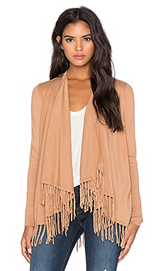 Central Park West Patagonia Fringe Cardigan in Camel