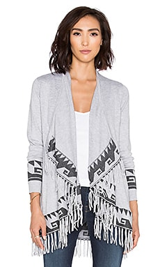 Central Park West Telluride Fringe Cardigan in Heather Grey
