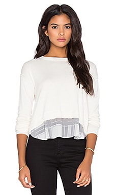 Central Park West Cambridge Layered Sweater in Cream & Grey Plaid