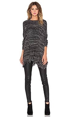 Central Park West Mesquite Fringe Poncho in Black
