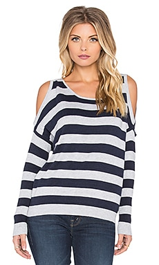 Central Park West Newport News Cold Shoulder Sweater in Navy & Heather Grey