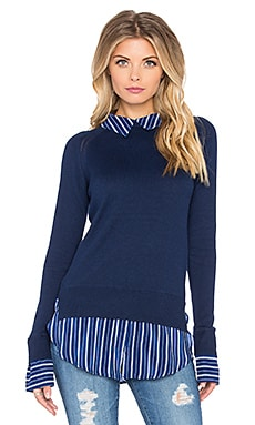Central Park West Oakland Shirt Sweater in Navy & Stripe
