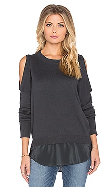Central Park West Oakland Cold Shoulder Sweater in Charcoal