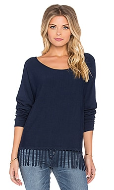 Central Park West Pomona Fringe Sweater in Navy
