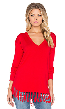 Central Park West Pomona Fringe V-Neck Sweater in Red