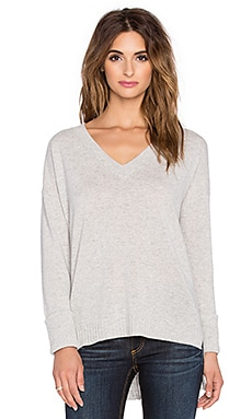 Central Park West Whistler 2 V Neck Sweater in Heather Grey