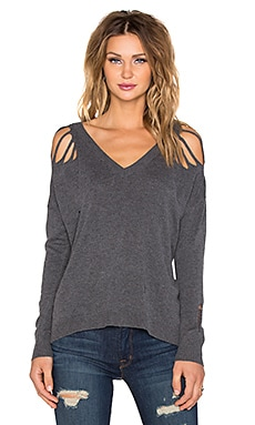 Central Park West Tremblant 2 High Low V Neck Sweater in Charcoal