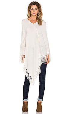 Central Park West Whistler Cashmere Fringe Poncho in Ivory