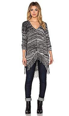 Lawrence V Neck Fringe Sweater in Marled Black