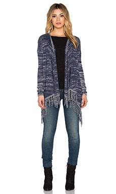Central Park West Lawrence Drape Front Fringe Cardigan in Marled Navy