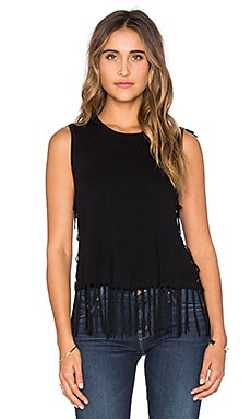 Brown Fringe Sleeveless Sweater en Noir