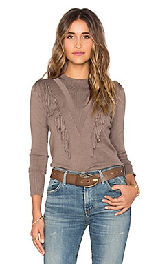Brown Fringe Crew Neck Sweater in Toast