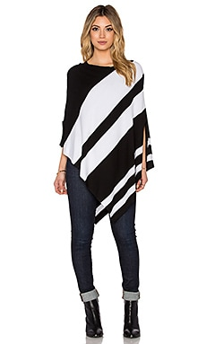 Central Park West Smith Off Shoulder Poncho in Black & White