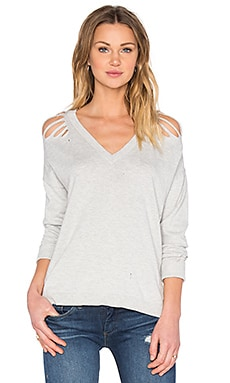 Central Park West Tremblant 2 High Low V Neck Sweater in Heather Grey