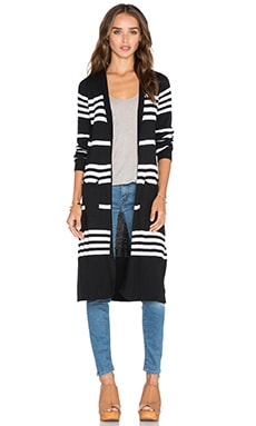 Central Park West Dubrovnik Stripe Cardigan in Black & White